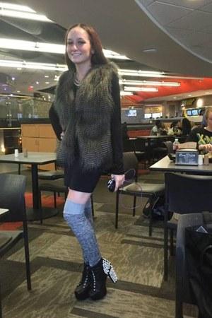black H&M skirt - litas Jeffrey Campbell boots - long sleeve TJ Maxx shirt