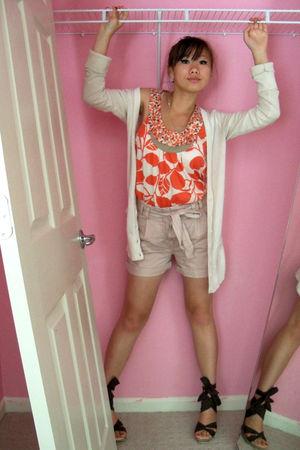 pink Target shirt - pink H&M shorts - brown vintage shoes - white Target cardiga