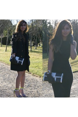 chartreuse triple strap shoes - black asos dress - ivory River Island bag