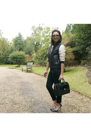 leather Mango jacket - bowler ted baker bag - camoflauge sam edelman heels