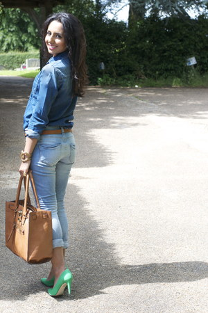 denim Pepe Jeans top - green asos shoes - skinny riverisland jeans