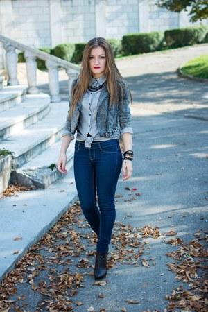 skinny jeans Bershka jeans - denim jacket H&M jacket - Terranova shirt