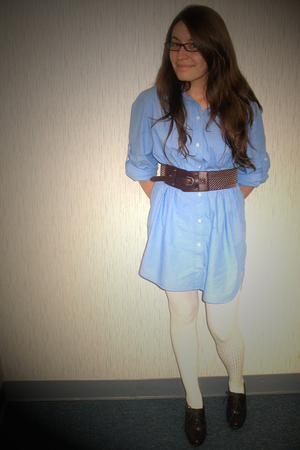 blue Forever 21 dress - brown belt - white Urban Outfitters tights - brown shoes