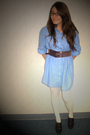 Blue-forever-21-dress-brown-belt-white-urban-outfitters-tights-brown-shoes