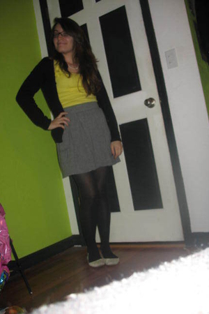 black H&M cardigan - yellow Old Navy top - gray Target skirt - black Target tigh