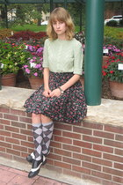 teal DIY skirt - black Soda shoes - light blue Forever 21 sweater