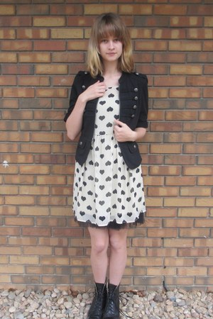 black unknown jacket - black vintage boots - ivory Macys dress