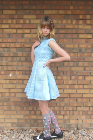 aquamarine gingham handmade dress - black Ollio shoes