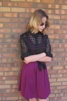 black thrifted shirt - magenta elle dress - black Off Broadway sandals