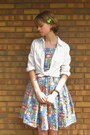 Blue-handmade-by-me-dress-white-forever-21-shirt-black-off-broadway-sandals