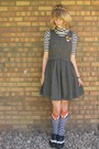 Gray-thrifted-dress-black-thrifted-shirt-carrot-orange-target-socks