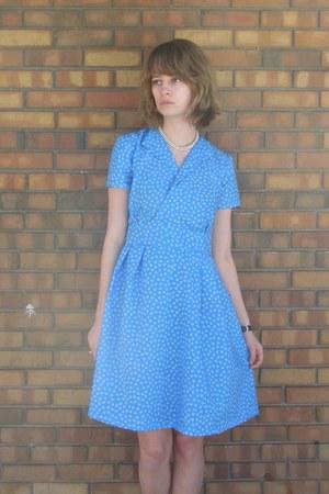 sky blue handmade dress - heather gray DSW heels