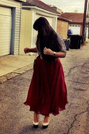 maroon vintage skirt - black Forever21 blouse