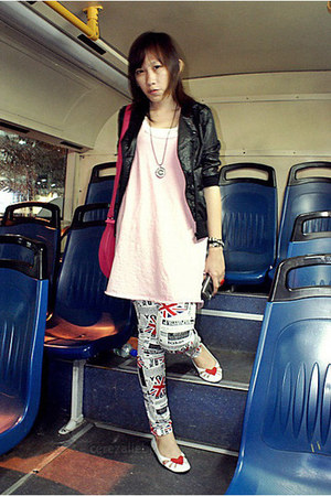 pants - black ROMP jacket - hot pink bag - white heart shaped wondershoe flats