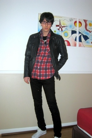 pull&amp;bear jacket - Secondhand shirt - april 77 pants - Keds shoes