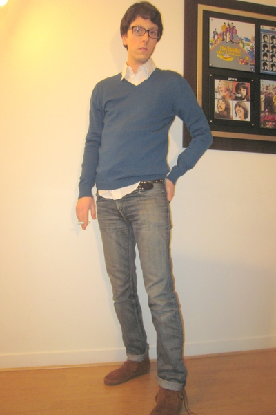 top - Zara shirt - Levis jeans - Minnetonka shoes