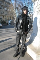 black leather Secondhand jacket - black uggs Ugg boots
