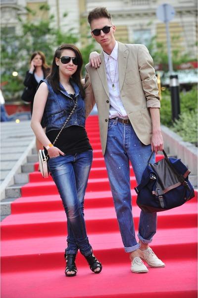 F&F shoes - Levis jeans - next blazer - H&M shirt - Gas bag