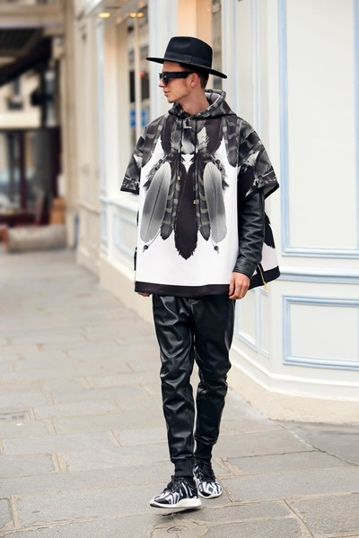 black neoprene iridiumclothing hoodie - black leather H&M Trend pants