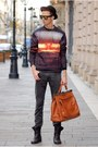 Tawny-choies-sweater-carrot-orange-benzol-bag-bag-gold-choies-sunglasses