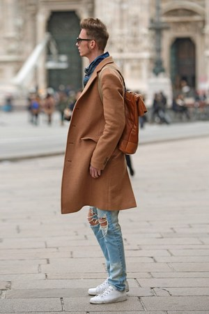 blue denim pull&bear jacket - camel tailor4less coat - blue ripped jeans
