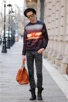 tawny Choies sweater - carrot orange Benzol bag bag - gold Choies sunglasses
