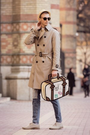 beige 3d travel bag JumpFromPaper bag - camel trench coat H&M coat