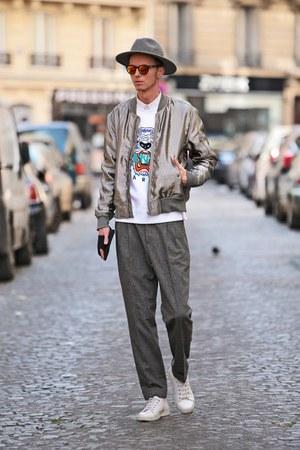 silver bomber jacket H&M jacket - white Kenzo sweater