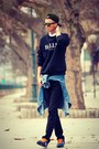 Black-zara-jeans-black-ballin-cap-alex-chloe-hat