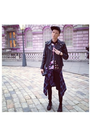 black H&M shoes - black H&M jacket - black Zara shorts