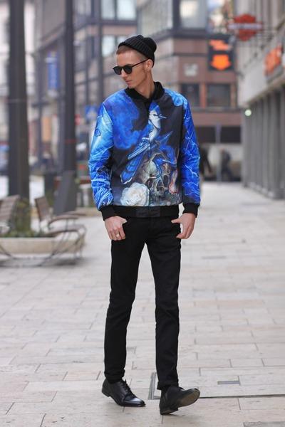 black leather shoes H&M shoes - black knit vintage hat - blue Choies jacket