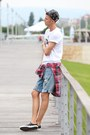 Ruby-red-checked-shirt-levis-shirt-navy-ripped-short-levis-shorts