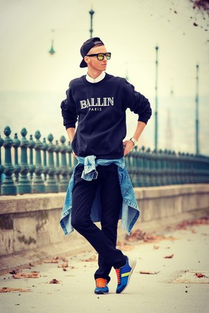 black Zara jeans - black ballin cap alex & chloe hat