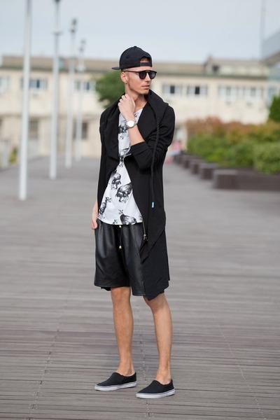 black slipon F&F shorts - black leather shorts guylook shorts
