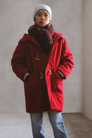 red UCBenetton coat - navy xl H&M scarf