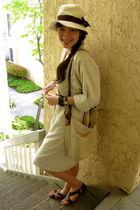 beige H&M hat - beige vintage dress - brown vintage belt - black Forever 21 acce