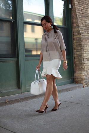 ivory flare skirt Zara skirt - beige bow collar top asos blouse
