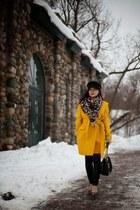 gold essentiel coat - black H&M hat - cashmere wool MIR scarf - black Vila pants