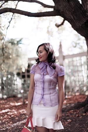 Boudicca blouse - maelle satchel Badgley Mischka bag - flare skirt Zara skirt