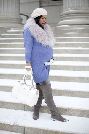 light purple asos sweater - blue maternity jeans asos jeans