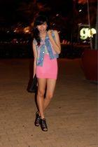blue Guess vest - white Promod top - pink Dept Store top - black sm dept store s