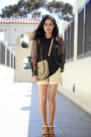 Theory top - Alexander Wang shirt - balenciaga bag - American Apparel shorts
