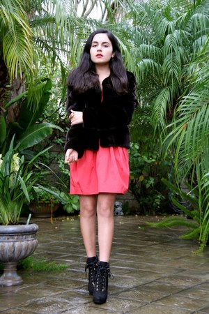 Black Forest coat - Louis Vuitton boots - Shoshanna dress