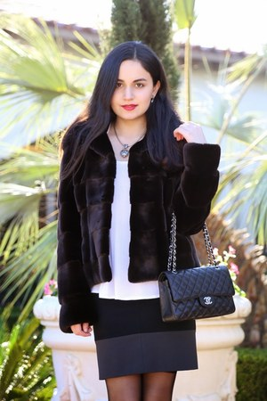 Chanel bag - Black Forest coat - Giorgio Armani shirt - Theory skirt