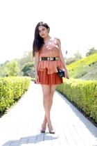 robert rodriguez top - balenciaga bag - Alice and Olivia skirt - Hermes belt