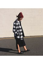 flannel Target coat - black leather Vans shoes - black cotton H&M dress