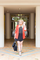 red silk MNG blazer - black striped Splendid top - black skort Zara skirt