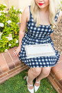 Gray-gingham-forever-21-dress-white-studded-clutch-collette-bag