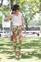 floral SM GTW pants - white Nine West bag - white lace Forever21 top