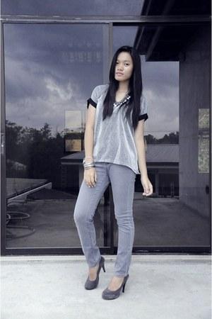 heather gray WildBerry Manila pumps - heather gray Lee jeans